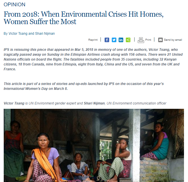 IPS - When Environmental Crises Hit Homes, Women Suffer the
